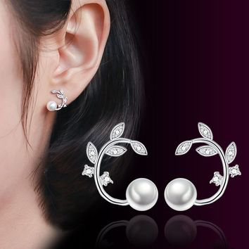 Fashion jewelry 925 sterling silver earring Pearl beads stud earings for women earing cute pendientes ear cuff brincos Leaf Crys