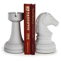 DanyaB Chess Rook vs Knight Bookend Set - White