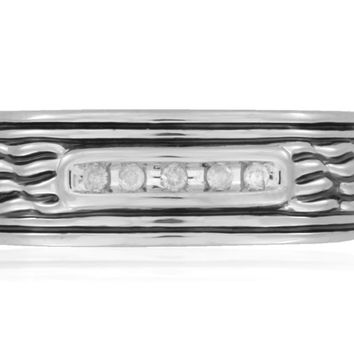 SilveRado™ for Mens 1/8 Carat T.W.  Diamond Sterling Silver Textured Band Ring for Men