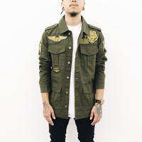 Aston Patched Long Sleeve Jacket (Olive Green)