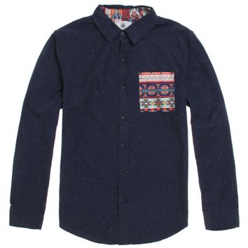 On The Byas Riley Jacquard Pocket Long Sleeve Woven Shirt - Mens Shirt - Blue