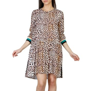 Imperial Pink Round Neck Long Sleeve Leopard Print Design Mini Dress