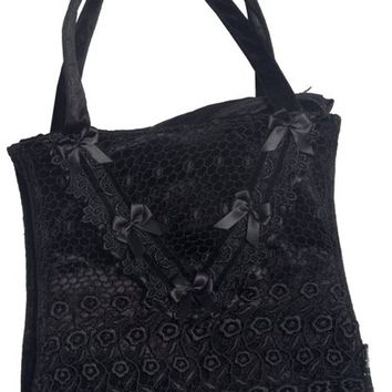 Black Lace and Velvet Gothic Handbag by Sinister | Gothic