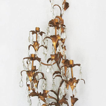 vintage mid-century gold gilt glass prism candelabra wall sconce Hollywood Regency home decor