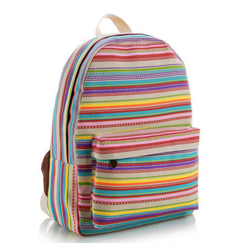 Stripes Lovely Canvas Floral Cute Korean Striped Animal Backpack = 4887612804