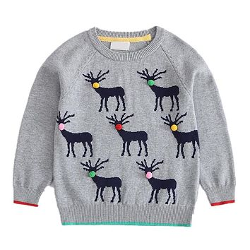 New Year Boys Outerwear Sweater Casual Cartoon Deer Sweater For Boys Pullover Winter Warm Knitted Hairball Children Clothing