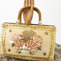60s Vintage Handbags-1960s Vintage Straw Seashell Purse