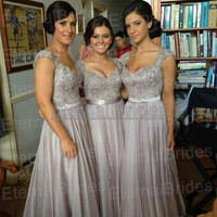 Norma bridal couture bridesmaid dresses sweetheart neckline with straps beaded bodices floor length chiffon custom made