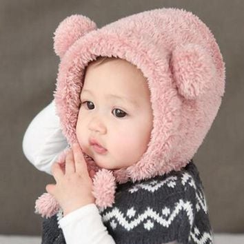 Baby Hats Warm Winter Ear Protection Hat Caps Newborn Baby Lovely Bear Plush Beanie Hats Kids Toddler Headwear Accessories