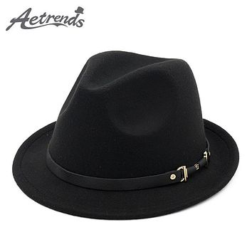 [AETRENDS] 2017 England Style Fedora Jazz Hat Men Vintage Wool Felt Winter Hat Panama Cap Z-5953