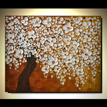 Original Modern Fine Art 24x30 Spring Home Decor, Abstract Landscape Artwork, Heavy Texture White Cherry Blossom Tree Painting, great gift