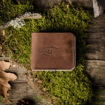Leather & wool felt Wallet | Wood Brown