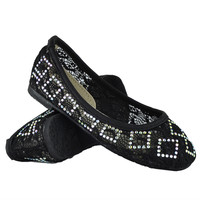 Kids Ballet Flats Lace Stitched Sequin Slip On Comfort Shoes Black SZ
