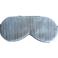 Organic Cotton Sleep Mask, Adjustable Eye Mask for Men Women, Gray Stripes, Gift Box, Luxurious Present for Him, Black Silk Satin, Eyemask