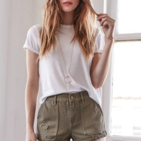 Bullhead Denim Co. Olive Ripped Utility High Rise Denim Shorts at PacSun.com