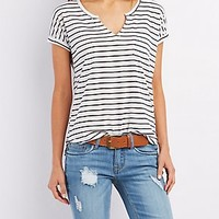 SPLIT NECK POCKET TEE