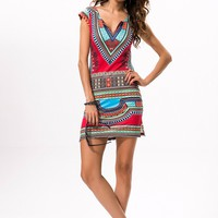 Sexy Women Summer Raditional African Print V-Neck Dress Bodycon