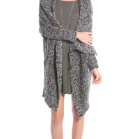 OVERSIZED DRAPED COLLAR KNIT CARDI