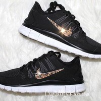 NIKE run free 5.0 running shoes w/Swarovski Crystals detail - Black/cheetah