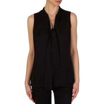 Michael Kors Black Tie Neck Silk Top