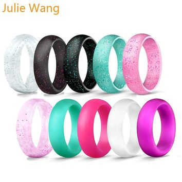 Julie Wang 1Set(7PCS) 5.7mm Width Simple Silicone Colorful Ring Sets Wear For Fashion Party Women Wedding Gift Cocktail Rings