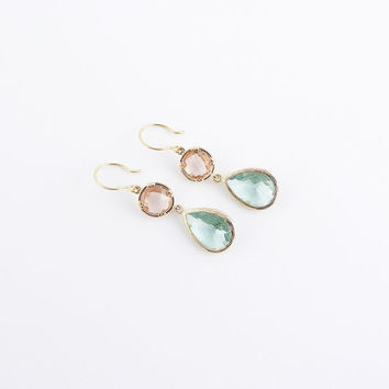 Gold chandelier earrings | Pink coral and pear green framed glass earrings, Sterling silver hook earrings