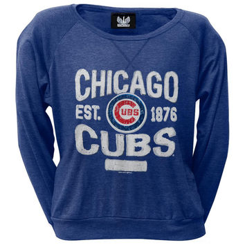 Chicago Cubs - Distressed Logo Juniors Wide-Neck Long Sleeve T-Shirt