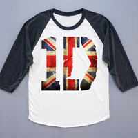 1D Union Jack Shirt One Direction T-Shirt 1D Shirt Pop Rock Shirt Baseball Tee Long Sleeve Shirt Women T-Shirt Unisex T-Shirt Size S,M,L
