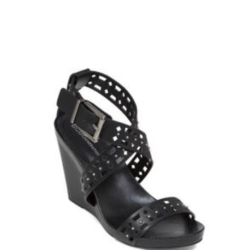 Bowler High-Heel Ankle Strap Wedge in Black - BCBGeneration