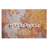 "Sylvia Cook ""Wanderlust Map"" World Decorative Door Mat"
