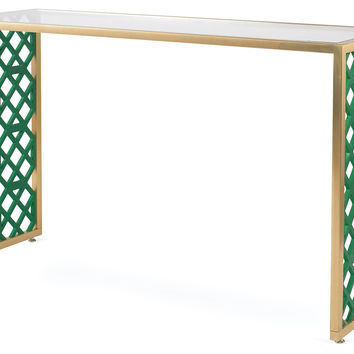 "Taylor Burke Home, Kings Grant 52"" Console, Emerald, Acrylic / Lucite, Console Table"