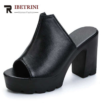 RIBETRINI Fashion Women High Heel Summer Shoes Woman Open Toe Platform Sandals 2017 Black White Flip Flops