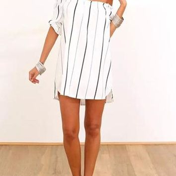 Women's Dress - White with Navy Pinstripes / Off Shoulder