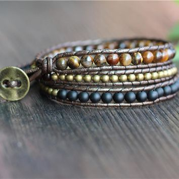 Exotic Triple Leather Wrap Bracelet with Tigers Eye, Copper and Midnight Black Beads