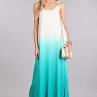Turquoise Ombre Resort Wear Maxi Dress