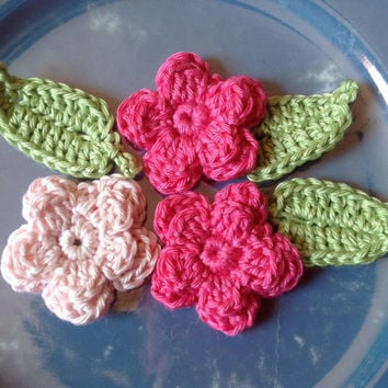 Mini Organic Cotton Sewing Embellishments- Flower Appliques- Set of 6- Ginger Green Leaves, 3 Flowers in Blush Pink and Lotus Bright Pink