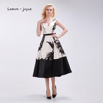 Floral Print Prom Dresses Elegant  with V-neck Sleeveless Backless Simple Pattern Tea-Length A-Line Party Gowns Plus Size
