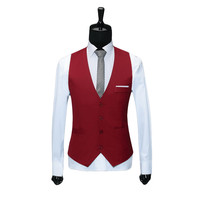 Classic Mens Suit Vest Formal Wedding Dress Slim Fit Men Waistcoat Man's V Collar Red Black Brand Solid Blazer Vests For Men