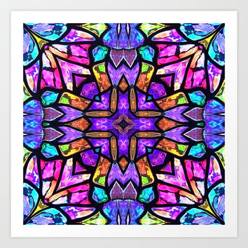 Stained Glass Cross Print