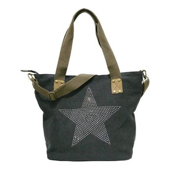 Big Star Studded & Sequined Canvas Tote