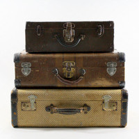 Vintage Suitcase / Vintage Stack of Suitcases / Old Luggage