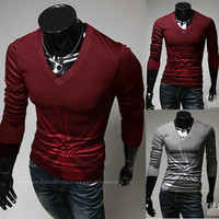 Men Fashion V Neck Tee