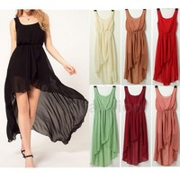 Sleeveless Chiffon Hi Low Dress