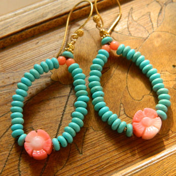 Turquoise and Coral Flower Hoop Earrings, Coral Earrings, Flower Earrings, Pink Flowers, Beaded Turquoise Earrings, Southwest Design