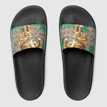 High quality Genuine Leather men's designer slippers clip feet flip style European Tiger lines style Shoes luxury brand sandals with box