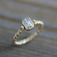 Ready To Ship Size 6.5 Moissanite Engagement Ring by onegarnetgirl
