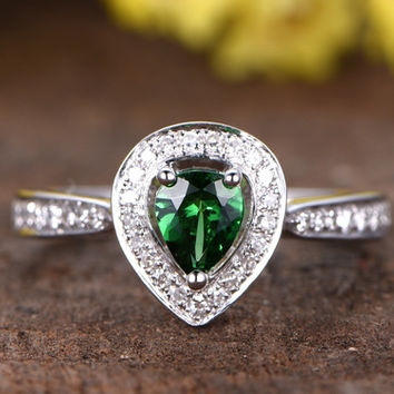 Tsavorite Engagement Ring with Diamond 14k/18k White Gold Pear Shaped Green Garnet Halo Antique Style Ring