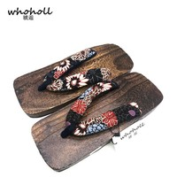 WHOHOLL men's summer sandals 2017 men geta Japanese clogs cosplay shoes wooden slippers platform sandals man anime