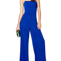 Blue Sleeveless Strappy Back Flared Leg Jumpsuit