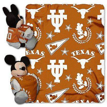 Texas Longhorns NCAA Mickey Mouse Throw and Hugger Pillow Set